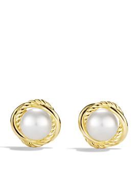 David Yurman - Infinity Earrings with Pearls in Gold