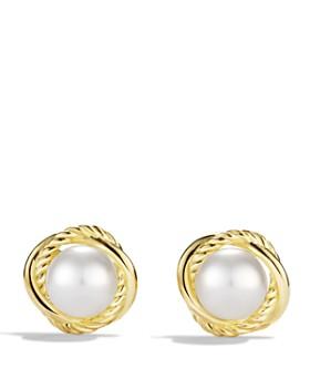 David Yurman Infinity Earrings With Pearls In Gold