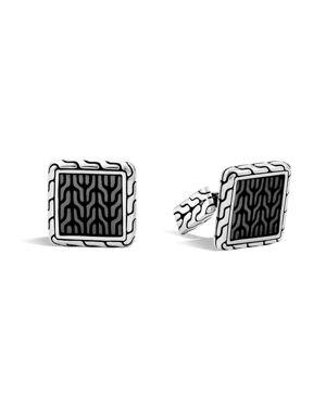 John Hardy Classic Chain Sterling Silver Enamel Square Cufflinks with Transparent Grey Enamel