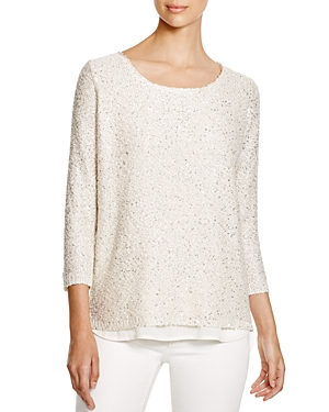 Sioni Mixed Media Sequin Sweater