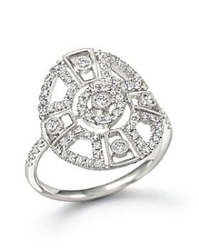 Meira T - 14K White Gold Antique Inspired Diamond Ring