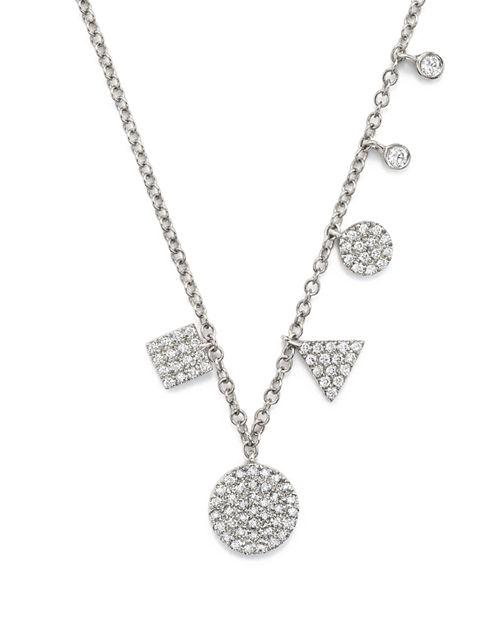 "Meira T - 14K White Gold Multiple Shape Diamond Disc Necklace, 16"""