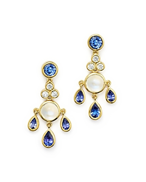 Temple St. Clair 18K Gold Fringe Earrings with Tanzanite, Royal Blue Moonstone and Diamonds