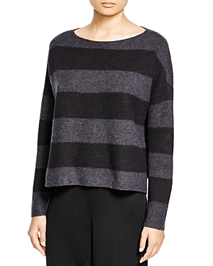Eileen Fisher Striped Boat Neck Sweater