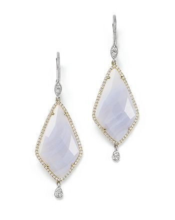 Meira T - 14K Gold and Blue Lace Chalcedony Earrings