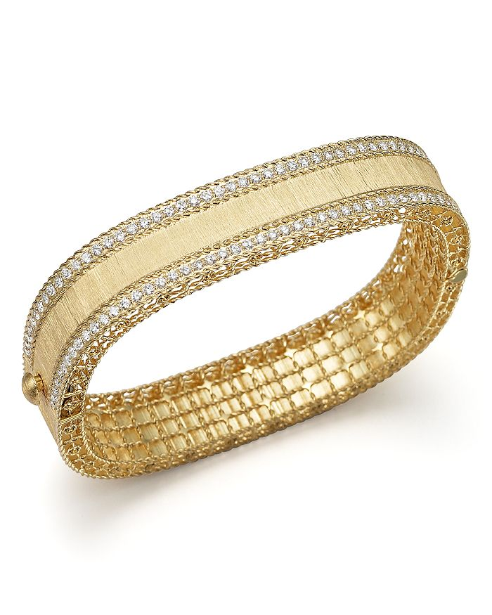 Roberto Coin - 18K Yellow Gold and Diamond Satin Princess Bangle