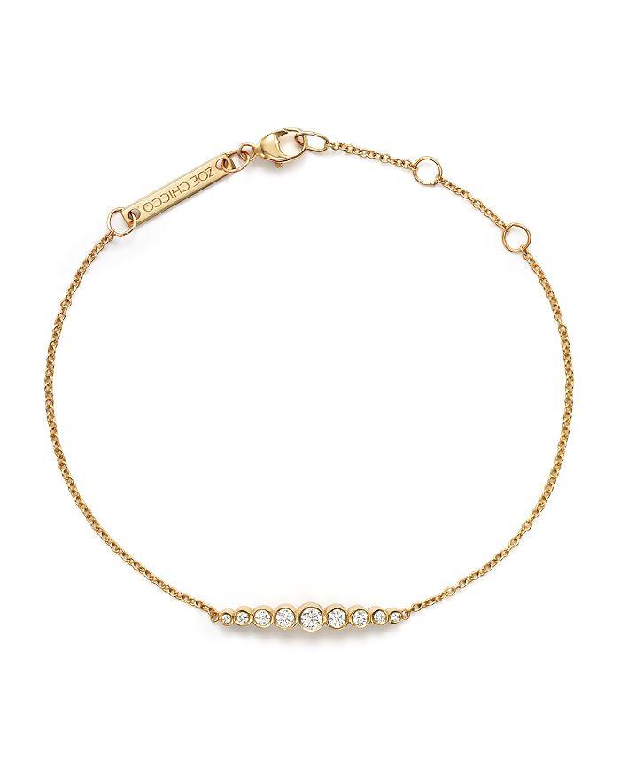 Zoë Chicco - 14K Yellow Gold and Diamond Graduated Bezel-Set Bracelet
