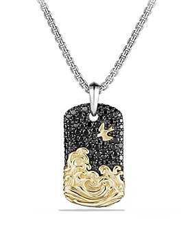 David Yurman - David Yurman Waves Tag with Black Diamonds and 18K Gold