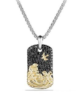 David Yurman - David Yurman Waves Tag with Black Diamonds and 18K Gold