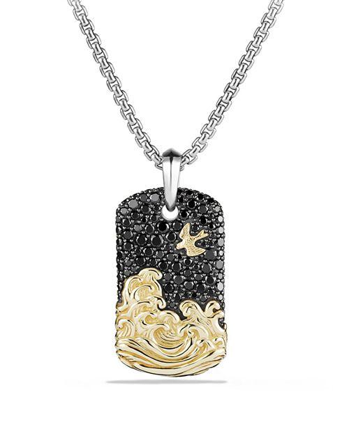 David Yurman - Waves Tag with Black Diamonds and 18K Gold