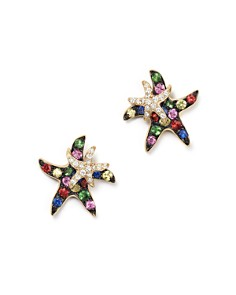 Bloomingdale's - Multi Sapphire and Diamond Starfish Earrings in 14K Yellow Gold - 100% Exclusive