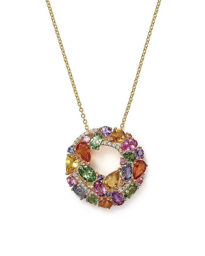 """Bloomingdale's - Multi Sapphire and Diamond Pendant Necklace in 14K Yellow Gold, 17""""- 100% Exclusive"""