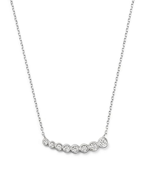 "KC Designs - Diamond Small Graduating Bezel Pendant Necklace in 14K White Gold, 16"""