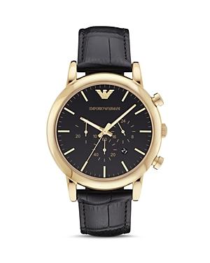 Emporio Armani Leather Strap Watch, 46mm