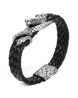 JOHN HARDY - Men's Naga Sterling Silver Dragon Woven Black Leather Bracelet