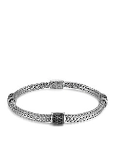 JOHN HARDY - John Hardy Classic Chain Silver Lava Four Station Chain Bracelet with Black Sapphires