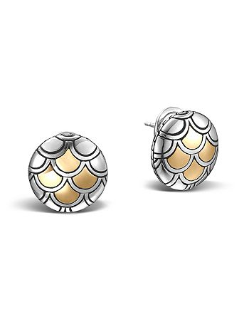 JOHN HARDY - John Hardy Sterling Silver & 18K Gold Naga Button Earrings