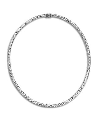 "Dot Slim Chain Necklace With Pusher Clasp, 18"", Silver"