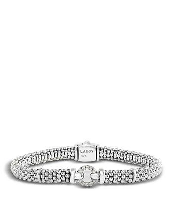 LAGOS - Enso Sterling Silver Caviar Bracelet with Diamonds
