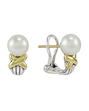 Lagos  18K GOLD AND STERLING SILVER LUNA CULTURED FRESHWATER PEARL BUTTON EARRINGS, 8MM