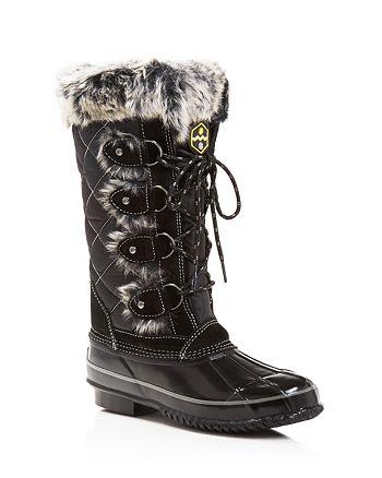 Khombu - Women's Jandice Faux-Fur Lace Up Cold Weather Boots