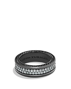 David Yurman - Pavé Two Row Ring with Grey Sapphire in Black Titanium