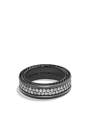 David Yurman - Pavé Two Row Ring with Grey Sapphire in Black Titanium