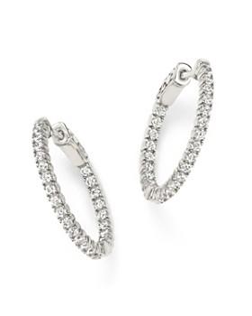 Bloomingdale's - Diamond Inside Out Hoop Earrings in 14K White Gold, 1.0 ct. t.w.- 100% Exclusive