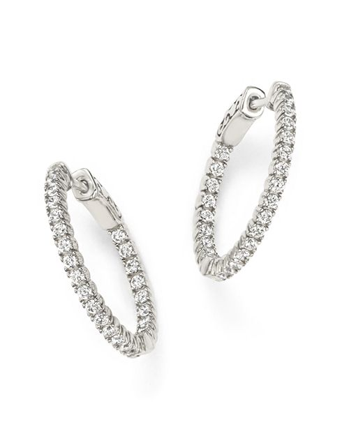 Bloomingdale's - Diamond Inside Out Hoop Earrings in 14K White Gold, 1.0 ct. t.w. - 100% Exclusive