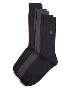 Polo Ralph Lauren Solid Ribbed Dress Socks, Pack of 3 - Bloomingdale's_0