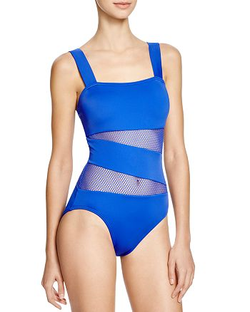 d931705baa875 DKNY Mesh Effect Splice Maillot One Piece Swimsuit | Bloomingdale's
