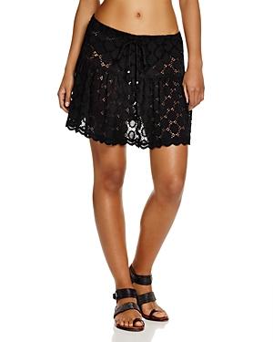 J. Valdi Drawstring Dot Lace Skirt Swim Cover-Up