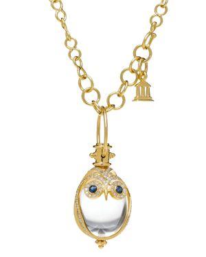 Temple St. Clair 18K Owl Pendant with Blue Sapphire & Diamond Pave