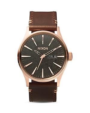 Nixon Sentry Leather Strap Watch, 42mm