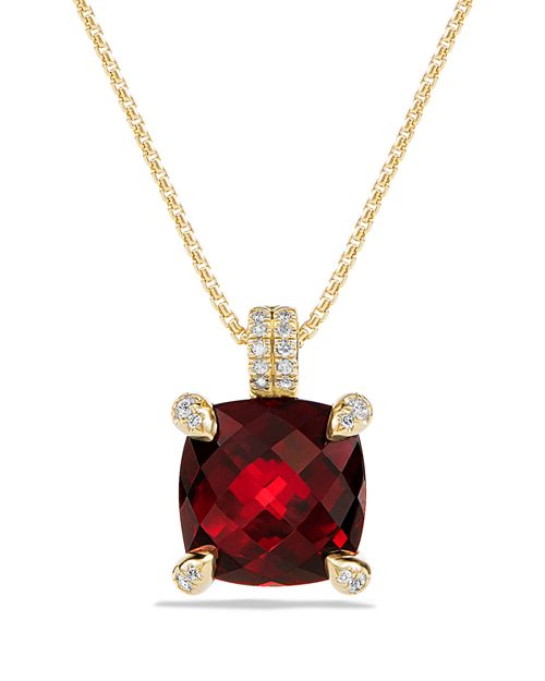David Yurman - Châtelaine Pendant Necklace with Garnet and Diamonds in 18K Gold