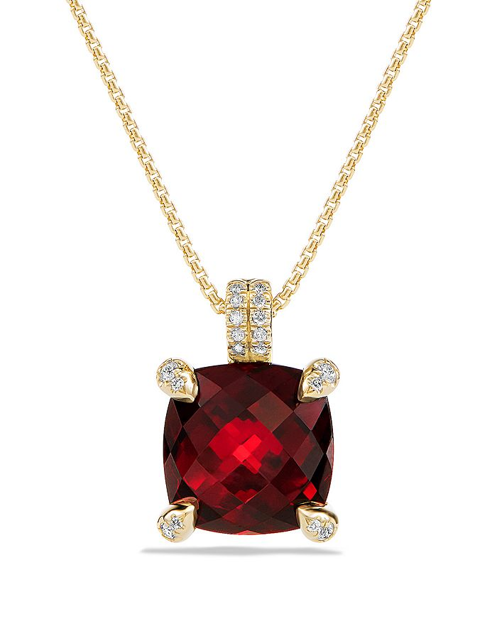 David Yurman Chatelaine Pendant Necklace With Garnet And Diamonds In 18K Gold In Red/Gold