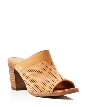 Toms Majorca Perforated High Heel Slide Sandals