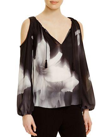 bec90923326f8f Elie Tahari - Cathy Floral Silk Cold Shoulder Blouse