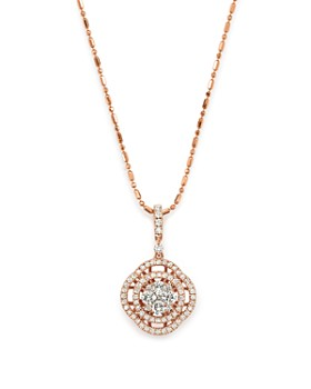 Bloomingdale's - Diamond Pavé Circle Pendant Necklace in 14K Rose Gold, .55 ct. t.w. - 100% Exclusive
