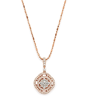 Diamond Pave Circle Pendant Necklace in 14K Rose Gold, .55 ct. t.w. - 100% Exclusive