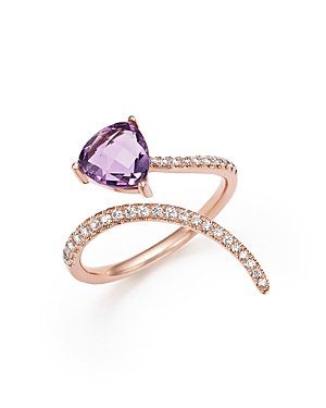 Amethyst and Diamond Open Swirl Ring in 14K Rose Gold - 100% Exclusive