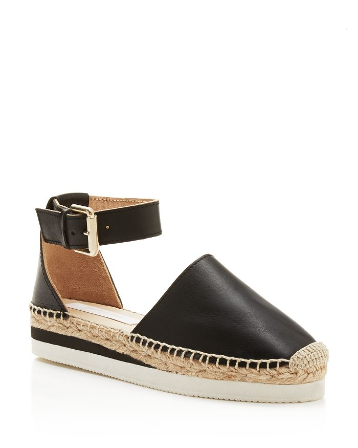 See by Chloé - Glyn Leather Platform Ankle Strap Espadrilles