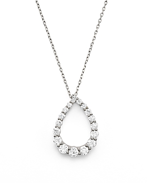 Diamond Graduated Teardrop Pendant Necklace in 14K White Gold, .90 ct. t.w. - 100% Exclusive