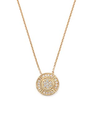 Dana Rebecca Designs 14K Rose Gold Jemma Morgan Circle Pendant Necklace with Diamonds, 16