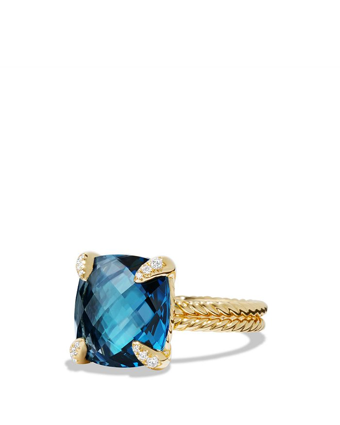 David Yurman - Châtelaine Ring with Hampton Blue Topaz and Diamonds in 18K Gold