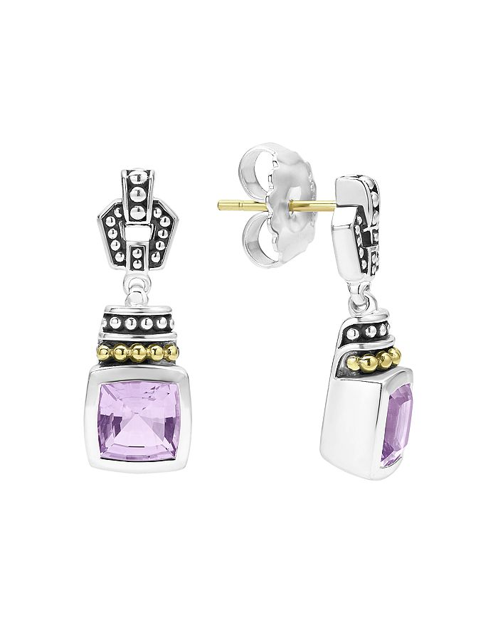 LAGOS - 18K Gold and Sterling Silver Caviar Color Gemstone Drop Earrings