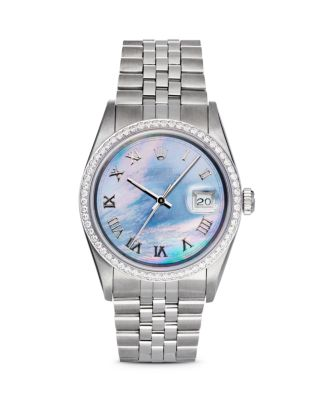 PRE-OWNED ROLEX STAINLESS STEEL AND 18K WHITE GOLD DATEJUST WATCH WITH DARK MOTHER-OF-PEARL DIAL AND
