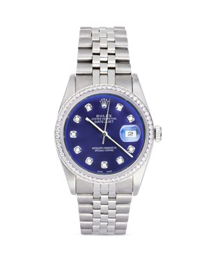 Pre-Owned Rolex Stainless Steel and 18K White Gold Datejust Watch with Blue Dial and Diamond Bezel,