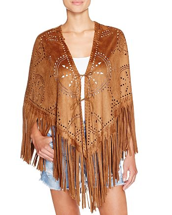 f2a383515 BLANKNYC Perforated Faux Suede Fringe Poncho | Bloomingdale's