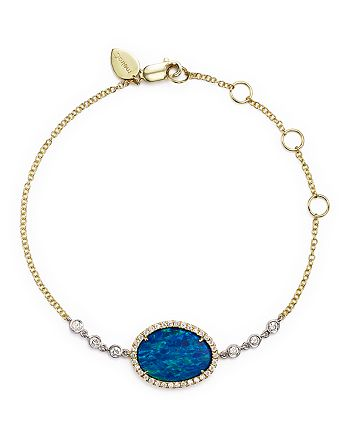 Meira T - 14K Yellow Gold and White Gold Opal Bracelet with Diamonds